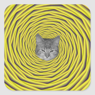 En el agujero + gato pegatinas