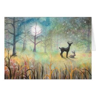 En el arte de los ciervos y del conejo del claro tarjeta de felicitación
