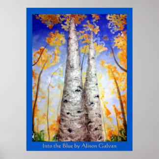 En el azul del artista fino Alison Galvan Póster