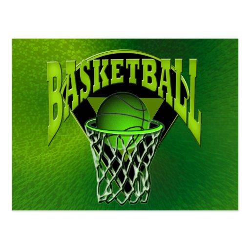 En el baloncesto y el tablero trasero del aro postal