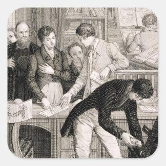 En el banco, c.1800 (grabado) pegatina cuadrada