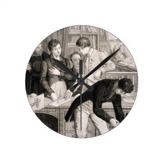 En el banco, c.1800 (grabado) relojes de pared
