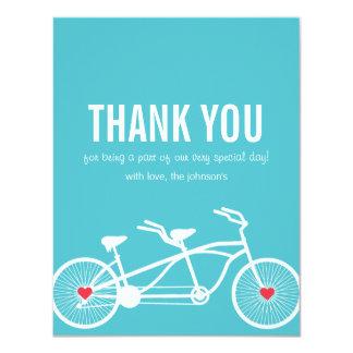 """En el boda azul de la bicicleta del amor gracias invitación 4.25"""" x 5.5"""""""