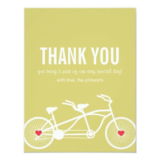 """En el boda de la bicicleta del verde del amor invitación 4.25"""" x 5.5"""""""