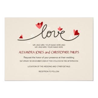 En el boda elegante simple del texto del amor invitación 12,7 x 17,8 cm