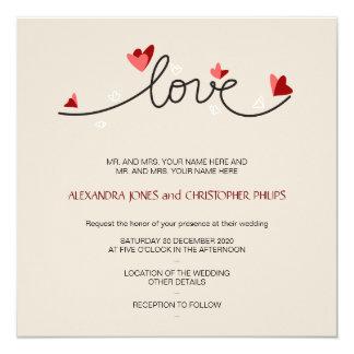 """En el boda elegante simple del texto del amor invitación 5.25"""" x 5.25"""""""