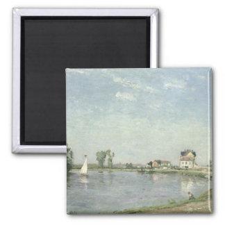 En el borde del río, 1871 imán cuadrado
