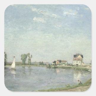En el borde del río, 1871 pegatina cuadrada