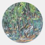En el bosque de Fontainebleau de Paul Cézanne Etiquetas Redondas