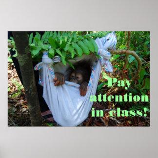 En el bosque para la escuela del orangután póster