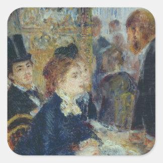 En el café, c.1877 pegatina cuadrada