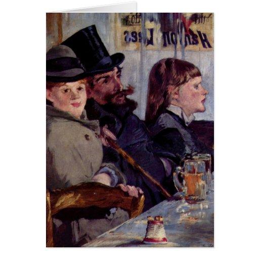 En el café: Del cabaret Reichshoffen - Manet Tarjeta De Felicitación
