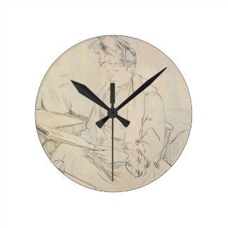 En el café (lápiz y tinta en el papel) reloj de pared