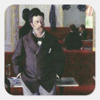 En el café, Ruán, 1880 Pegatina Cuadradas