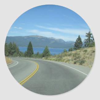 En el camino pegatina redonda