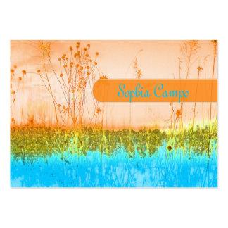 En el campo, plantilla colorida de los tarjetas de visita grandes