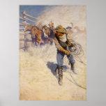 En el corral por NC Wyeth, vaqueros occidentales Póster