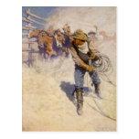 En el corral por NC Wyeth, vaqueros occidentales Postal