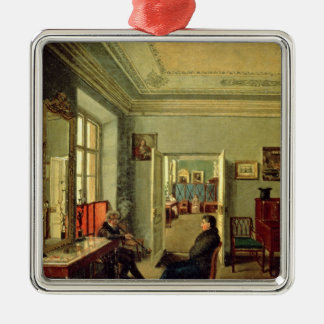 En el cuarto, 1834 adorno navideño cuadrado de metal