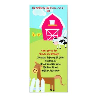 """En el cumpleaños azul de la granja invite invitación 4"""" x 9.25"""""""