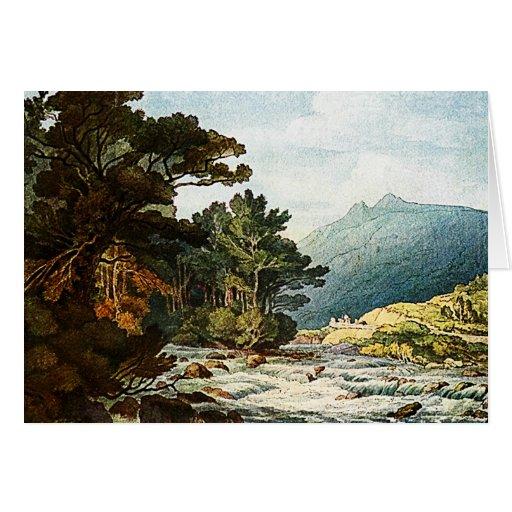 En el dardo - tarjeta de la pintura de la acuarela