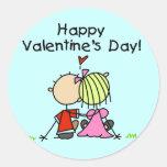 En el día de San Valentín feliz del amor Pegatinas Redondas