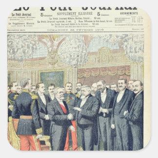 En el Elysee Palace, la transferencia ceremonial Pegatina Cuadrada