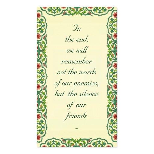 En el extremo, recordaremos no las palabras tarjetas de visita