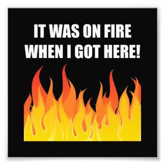 En el fuego cuando está conseguido aquí fotografía