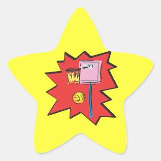 En el fuego pegatina en forma de estrella