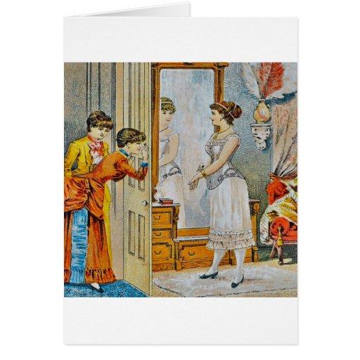 En el gabinete de señora tarjeta de felicitación