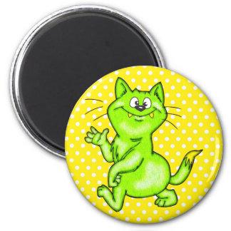 En el gato verde del dibujo animado imán