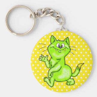 En el gato verde del dibujo animado llavero redondo tipo pin
