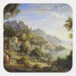 En el golfo de Salerno, 1826 Pegatina Cuadrada