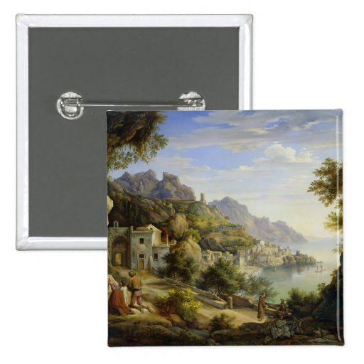 En el golfo de Salerno, 1826 Pin Cuadrada 5 Cm