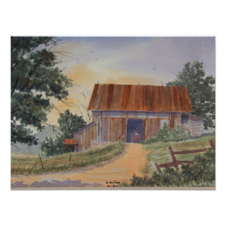 En el granero, glose la lona, por Kevin E. Slater Poster