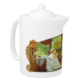 En el invernadero - tetera de la porcelana