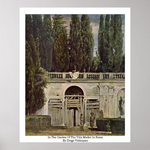 En el jardín del chalet Medici en Roma Póster