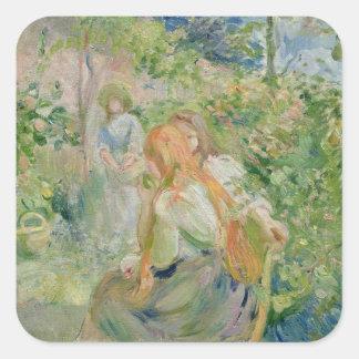 En el jardín en la Roche-Placa, 1894 Pegatina Cuadrada