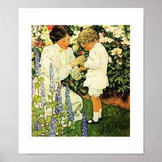"""""""En el jardín"""" por el poster de Jessie Willcox Smi"""