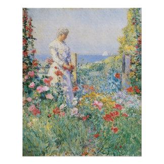 En el jardín por Hassam impresionismo del vintage