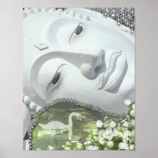 En el jardín - Quan Yin y flores Posters