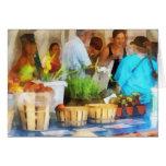 En el mercado del granjero tarjeta