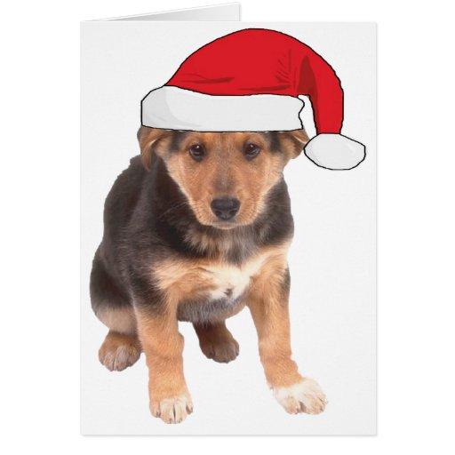 En el navidad - perrito del pastor alemán tarjeta