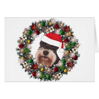 En el navidad - Schnauzer miniatura Tarjeta Pequeña