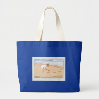 En el niño del vintage de la playa por el mar bolsa tela grande