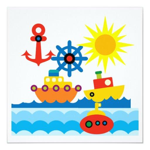 """En el océano invitación 5.25"""" x 5.25"""""""