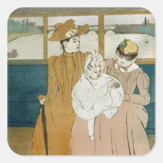 En el Omnibus de Mary Cassatt Pegatinas Cuadradases Personalizadas