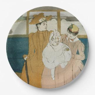 En el Omnibus de Mary Cassatt Plato De Papel De 9 Pulgadas
