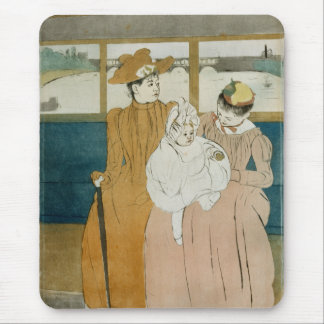 En el Omnibus de Mary Cassatt Alfombrilla De Ratones